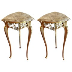 Pair of Small Side Tables, Bronze Base, Highly Decorative, Lace, Birds, Marble