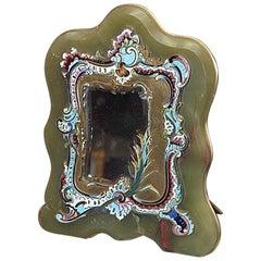Antique Cloisonné Enamel Russian Onyx Mirror, circa 1860