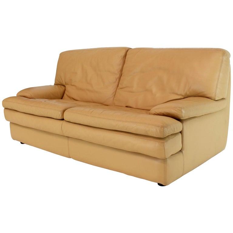 Roche Bobois Light Peach Leather Loveseat Small Sofa