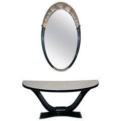 Black and Silver Console and Mirror