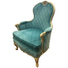 French Louis XV Cream Painted Carved Turquoise Bergère Armchair Chair