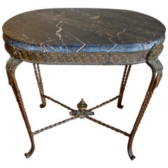 French Style Rustic Wrought Iron Oval Garden Side Table, Thick Black Marble Top
