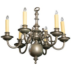 Vintage Nickel on Bronze Georgian-Style Classic Chandelier