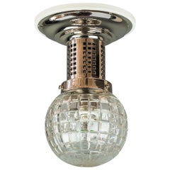 Art Deco Flush Mount Nickel-Plated with White Woodplate and Cut Glass