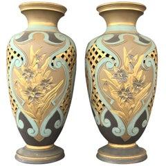 Pair of Royal Daulton Lambeth Silicon Ware Vases