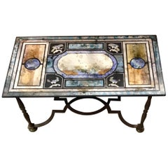 Beautiful Scagliola and Iron Coffee Table