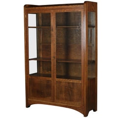 Antique Arts & Crafts Stickley School Mission Oak Two-Door China Cabinet
