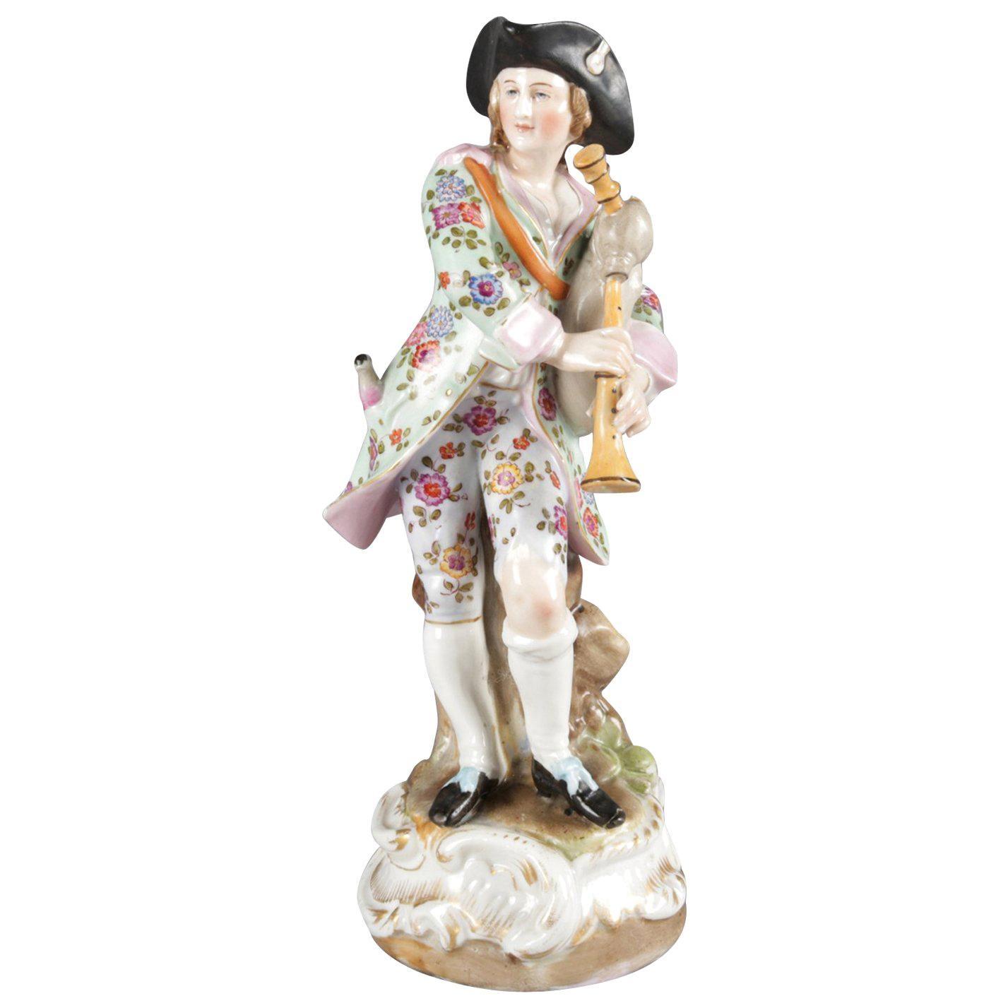 Antique German Meissen School Hand Painted and Gilt Porcelain Bagpiper Figure