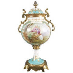 Antique French Sevres School Hand-Painted and Gilt Porcelain and Bronze Urn