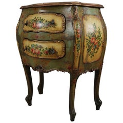Antique Italian Hand-Painted Floral and Gilt Bombe Two-Drawer Commode