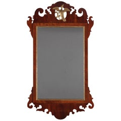 Antique Chippendale Mahogany Scroll Form and Gilt Phoenix Wall Mirror