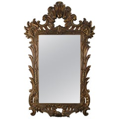 Oversized Italian Rococo Giltwood Foliate Form Overmantel Mirror, 20th Century