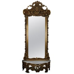 Antique French Rococo Giltwood and Marble Scroll and Foliate Pier Mirror