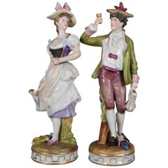 Antique Pair Meissen Hand Painted and Gilt Porcelain Courting Couple Figures