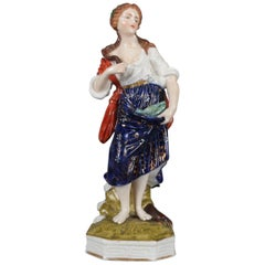 Antique Meissen School Painted and Gilt Porcelain Figure of Peasant Woman