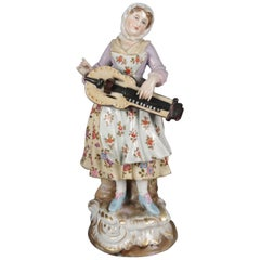 Antique Victorian Hand Painted and Gilt Chelsea School Figure of Musician
