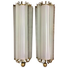 Pair of Monumental Art Deco Wall Sconces, Bauhaus, Germany, 1930s