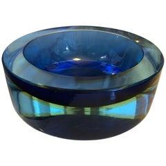 Amazing Sommerso Murano Glass Ashtray, circa 1970