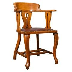 Antique Bow-Back Armchair, Edwardian, Art Nouveau, Liberty-Esque, Walnut