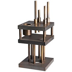 """Unique Steel and Brass Candleholder """"Brut"""", Signed by Lukas Friedrich"""