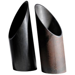Pair of Steel Sculpted Vase, Signed by Lukas Friedrich