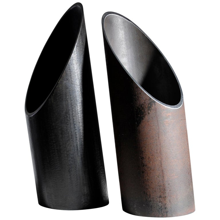 Pair Of Steel Sculpted Vases Signed By Lukas Friedrich For Sale At