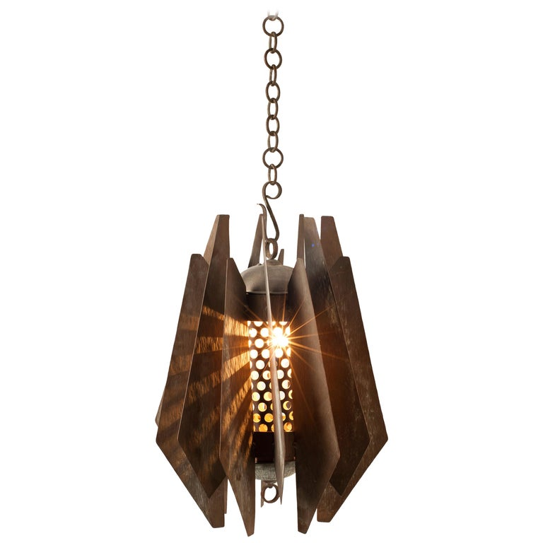Brutalist Pendant in Solid Copper, circa 1960s, Sourced in South Africa For Sale