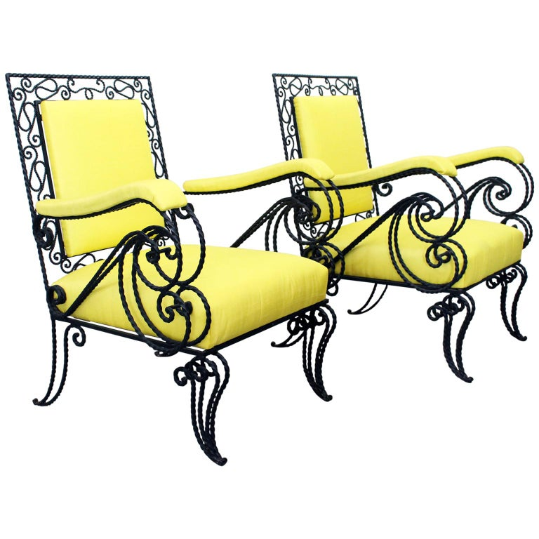 Pair of Midcentury French Decorative Black Wrought Iron, 1950s, Armchairs
