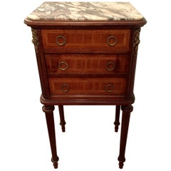 Handsome French Mahogany and Marble Nightstand End Table