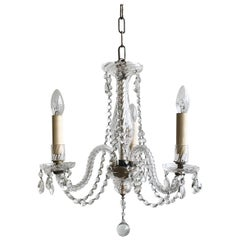 English Cut Crystal Chandelier with Crystal Swags