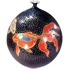 Large Japanese Hand-Painted Black Porcelain Charger by Master Artist