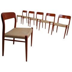Set of Six Midcentury Model 75 Dining Chairs in Teak by Niels Ø. Møller