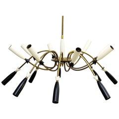 Italian Black White and Brass Chandelier Light in the Style of Stilnovo
