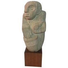 Modernist 1950s Limestone Shona Musician Sculpture