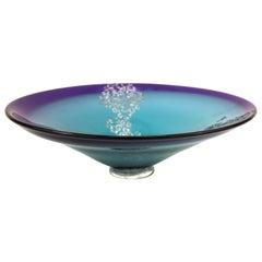 Cheryl Takacs Canadian Modern Studio Art Glass Turquoise Bowl