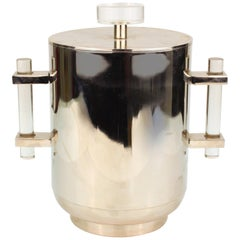 Mid-Century Modern Chromed Metal Ice Bucket with Lid and Lucite Handles