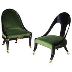Companion Pair of Regency Black Painted Klismos Slipper Chairs
