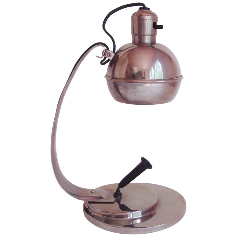 American Art Deco Nickel-Plated Adjustable Desk Lamp with Bakelite Pen Holder
