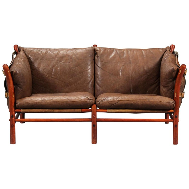 Rare Arne Norell Ilona Sofa in Brown Leather, Sweden, 1960s