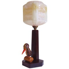 English Art Deco Wood and Bakelite Noveltic Nut Bird Table Lamp with Glass Shade