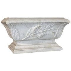 19th Century Louis XVI Carved Carrara Marble Neoclassical Planter