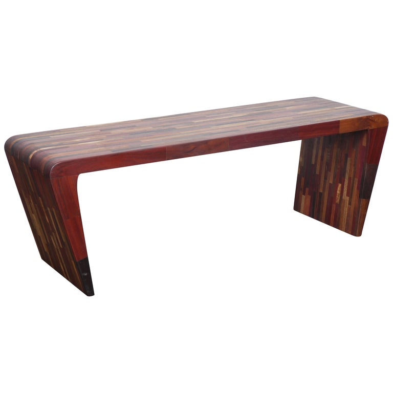 Midcentury Rare Brazilian Solid Wood Console Table By Tunico T