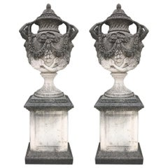 Pair of Monumental Italian Limestone Vases 18th Century Style