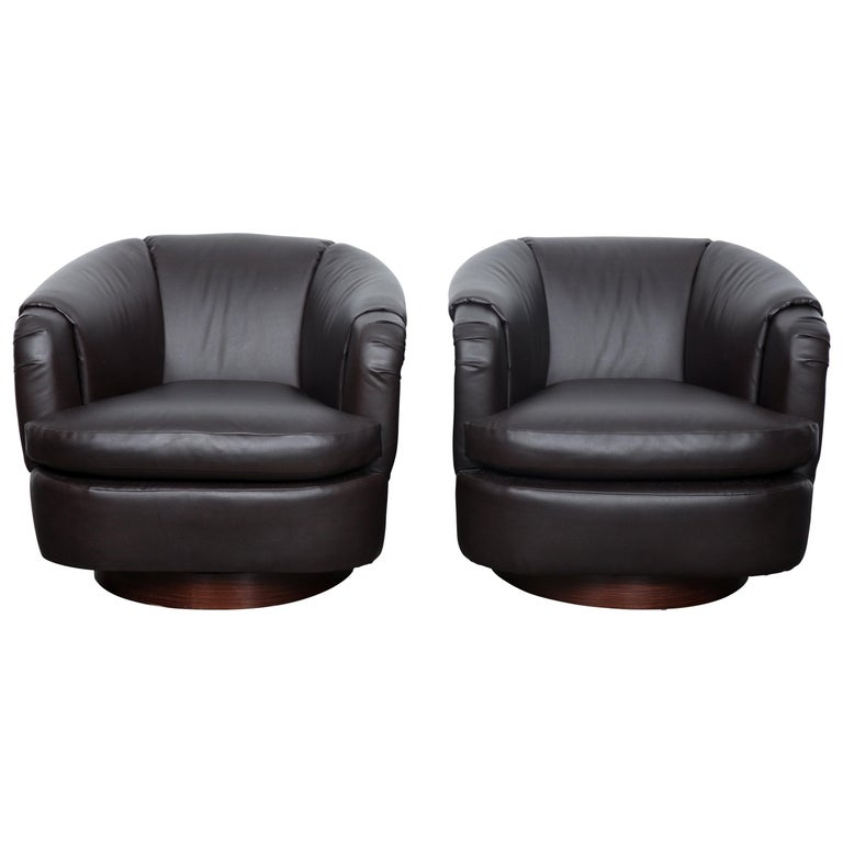 Pair of Milo Baughman Dark Brown Leather Swivel Club Chairs