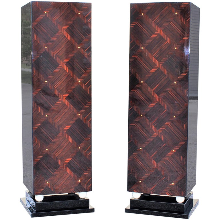 Monumental Pair of French Art Deco Exotic Macassar Ebony Pedestals MOP Accents For Sale