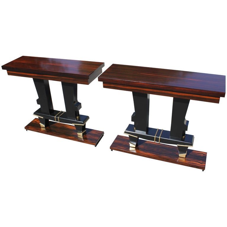 Pair of French Art Deco Exotic Macassar Ebony Console Tables, circa 1940s For Sale