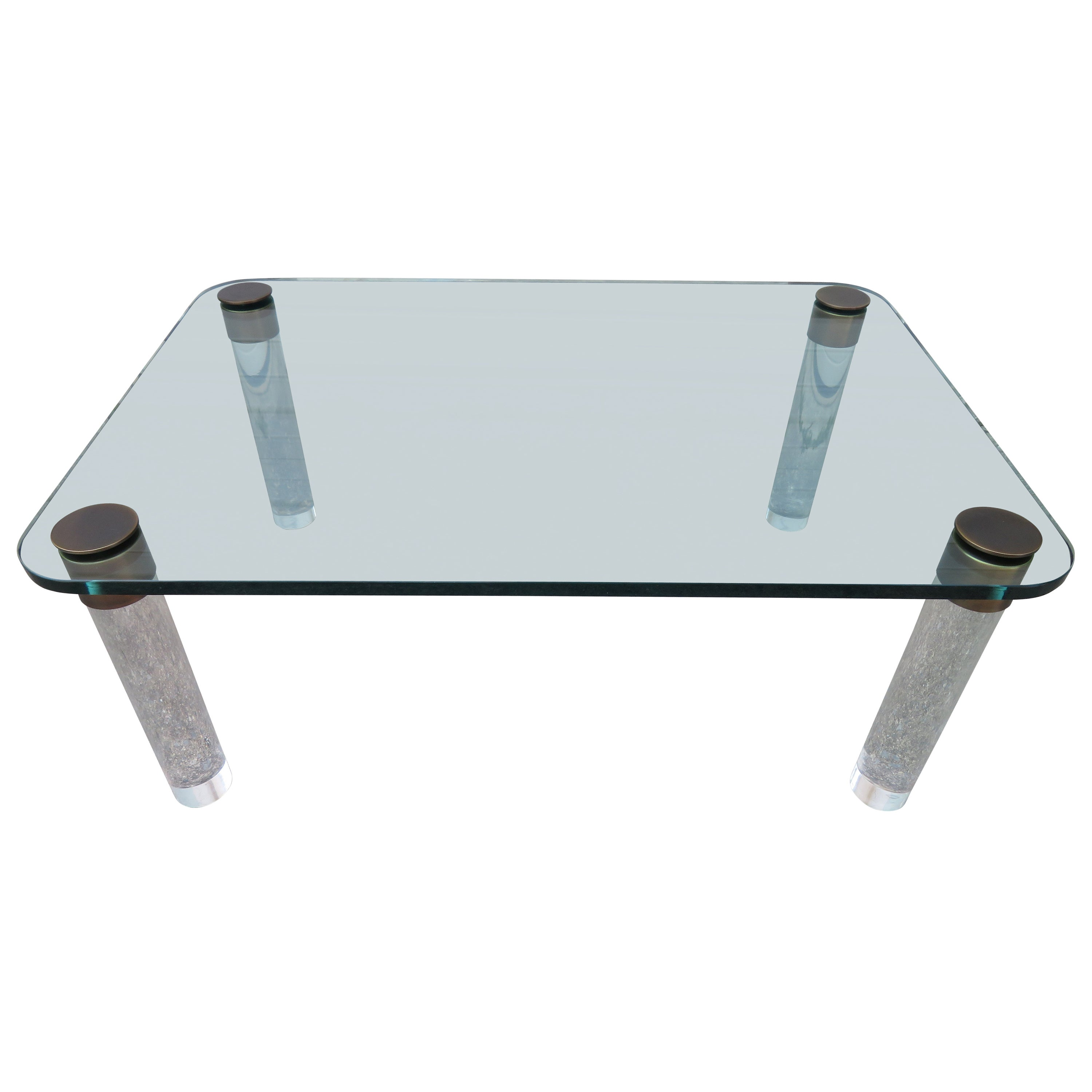 Stunning Lucite Bronze and Glass Cocktail Table, Leon Rosen for Pace