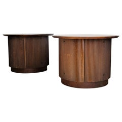 Tambor Door Walnut Drum Table Cabinets