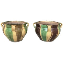 Pair of 19th Century Country French Earthenware Jardinières
