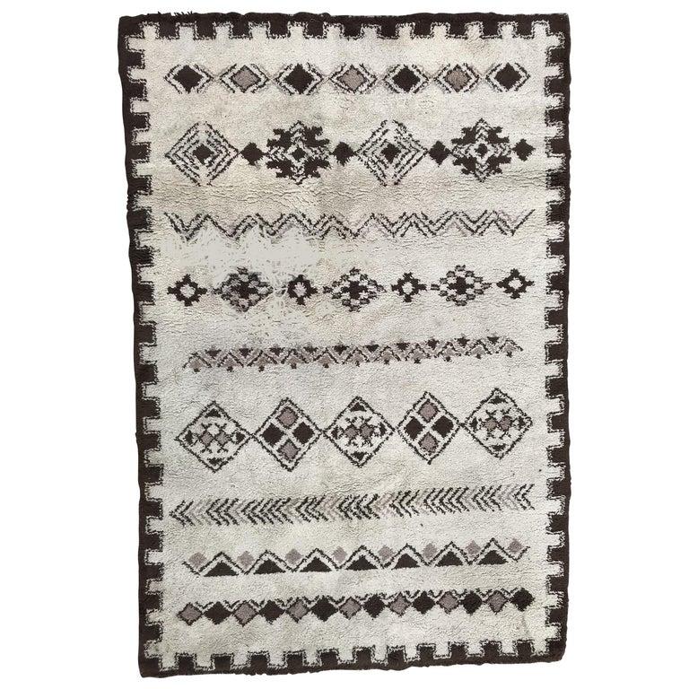 Moroccan Vintage Tribal Berbere Rug Beni Ouarain Carpet